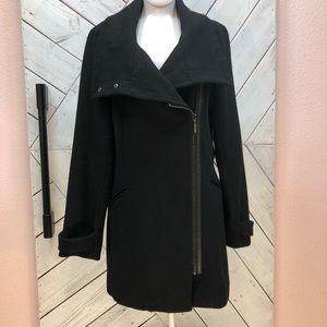 Cole Haan Black Wool Pea Coat